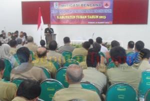 SIAGA BANJIR : Wakil Bupati Tuban saat memberikan sambutan dalam acara Kontigensi Bencana