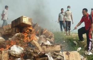 DIMUSNAHKAN : Kasat Reskrim Polres Tuban, AKP Wahyu Hidayat sedang membakar barang bukti 4 ton ikan asin