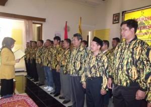 Dikukuhkan : Proses pengukuhan PD AMPG Tuban di Gedung DPD Partai Golkar Tuban