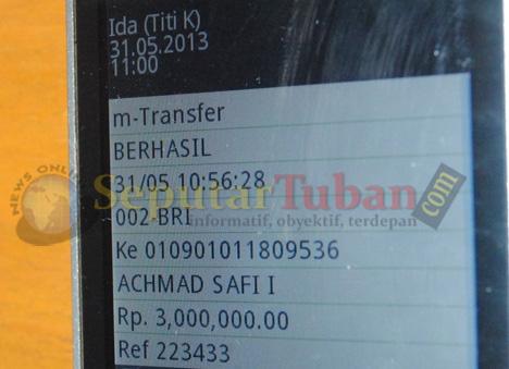 ini bukti sms dari asisten Titi Kamal yang mengirimkan bukti transfer Rp. 3 Juta