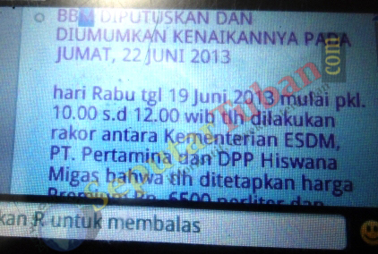 inilah pesan yang tersebar melalui broadcast BlackBerry