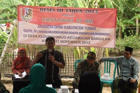 Reses Ketua DPRD Tuban, Kristiawan di Desa Kedungharjo, Kecamatan Bangilan