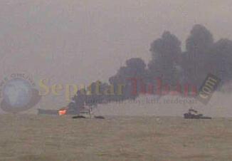 ASAP TEBAL : Inilah kondisi kapal tangki pertamina saat terbakar