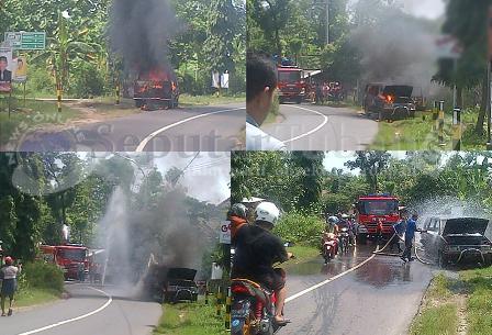 Heboh : Kondisi mobil terbakar hingga dipadamkan
