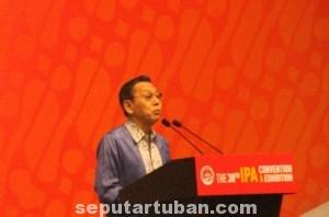 KETAHANAN MIGAS : Wakil Presiden RI, Boediono saat menyampaikan sambutan pembukaan Convention & Exhibition Indonesia Petrolium Asociation (IPA) di JCC Jakarta, Rabu (21//5/2014)