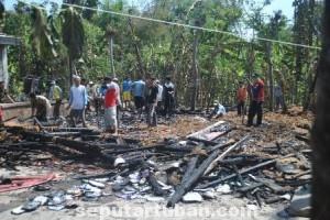 LUDES : Kondisi rumah korban rata dengan tanah karena terbakar