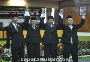 PIMPINAN BARU : Inilah pimpinan DPRD Tuban. Dari kiri - Rudi, Miyadi, Fanani, Riza