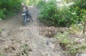 DIANAK TIRIKAN: Inilah kondisi jalan yang menjadi akses utama warga Dusun Klapan, Desa Mulyoagung, Kecamatan Singgahan, dari tahun ke tahun.