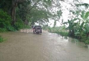 LANGGANAN BANJIR : Kondisi jalan provinsi di kawasan Desa Bahoro, Kecamatan Bangilan, Kab. Tuban saat tergenang banjir