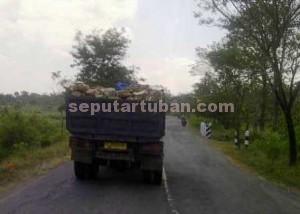 DIBIARKAN : Beginilah kondisi truk pengangkut material batu yang aman saja melintas
