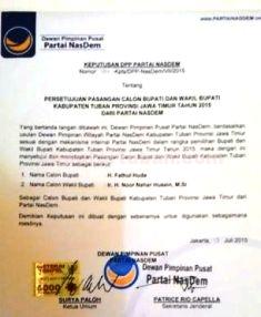 FORMALITAS: Inilah surat dukungan DPC Partai Nasdem Tuban untuk incumbent.
