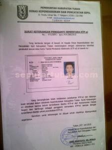 TIDAK LAKU: Surat keterangan penduduk milik Purwo Handoko yang ditolak Bank BNI ketika akan melakukan tarik tunai.