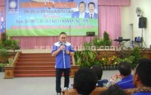 TEGAS : Ketua Umum DPP PAN, Zulkifli Hasan saat menyampaikan sambutan dihadapan kader dan undangan