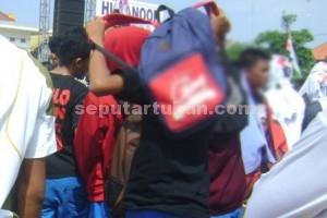 SEMANGAT : Sejumlah pelajar ramaikan kampanye Hudanoor, Sabtu (28/11/2015)