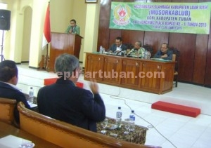 Nafas Baru : Ketua Koni Tuban periode 2015-2019, Mirza Ali Manzur saat menyampaikan sambutan