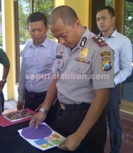 DIBONGKAR : Wakapolres Tuban, Kompol Ali Machfudz didampingi Kasat Reskim dan KBO Sat Reskrim saat press release