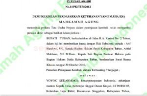 FINAL : Bagian awal putusan peninjauan kembali yang diajukan Pemkab Tuban, memenangkan Yoyok Suradmoko