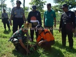 TAULADAN : Dandim 0811 Tuban dan Adm Perhutani KPH Parengan saat menanam pohon