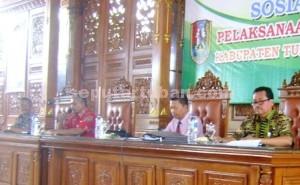 DIPAHAMKAN : Sosialisasi pelaksanaan Dana Desa 2016 bersama para pihak di Pendopo Krido Manunggal Pemkab Tuban