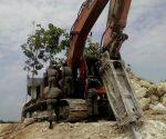 NGAWUR : Inilah alat berat dilokasi tambang ilegal yang digrebek petugas gabungan