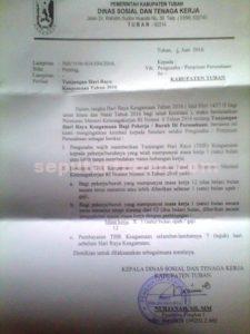 Surat Edaran THR yang dikeluarkan Dinsosnaker