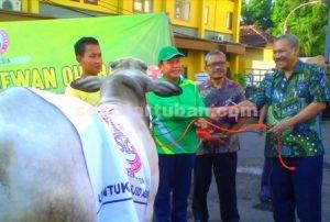 PEDULI : Perwakilan PT Semen Indonesia saat menyerahkan hewan kurban secara simbolis kepada Wakil Bupati Tuban