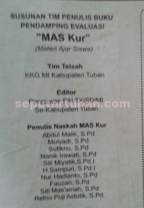 Inilah tim telah, penulis dam editor buku MAS Kur