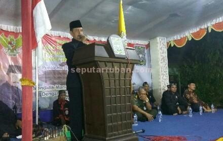 TANAMKAN PATRIOTISME : Ketua Umum PSHT Pusat Madiun, R. Moerdjoko H. M saat menyampaikan sambutan